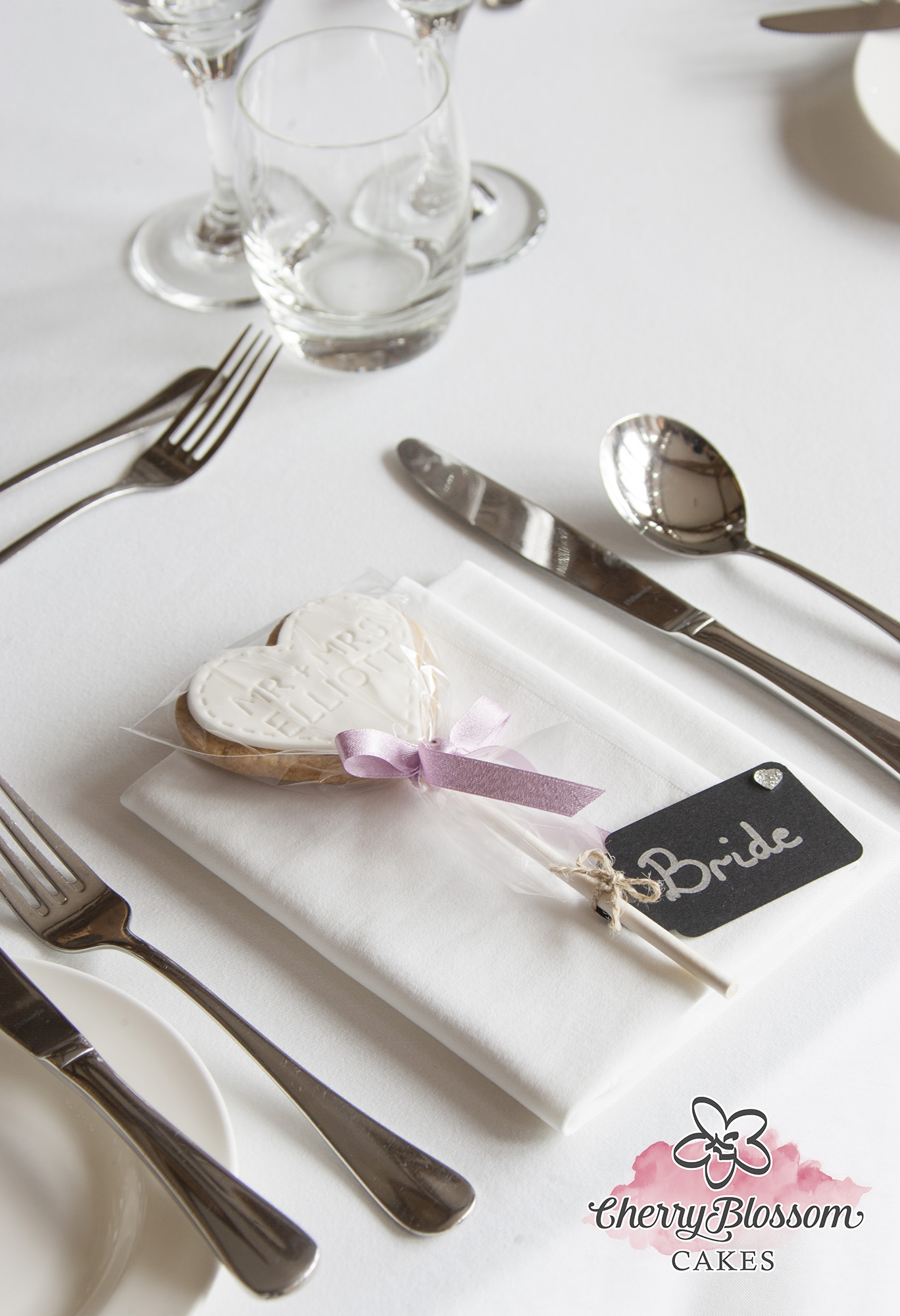 Personalised Iced Shortbread Heart Lolly Wedding Favour