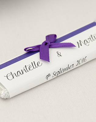 Purple Bow Chocolate Bar Wedding Favour