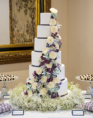 Autumn Flowers and Foliage Wedding Cake (Price code C)