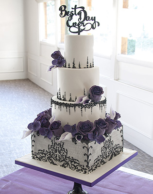 Black and Purple Gothic Damask Wedding Cake (Price code C)