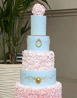 Blue Pink and Gold Ruffle Wedding Cake (Price code C)