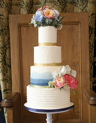 Blue and Gold Ombre Effect Buttercream Wedding Cake (Price code A)