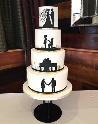 Couple Silhouette Wedding Cake (Price code B)