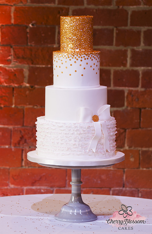 Metallic Golden Sequins and Ruffles Wedding Cake (Price code B)