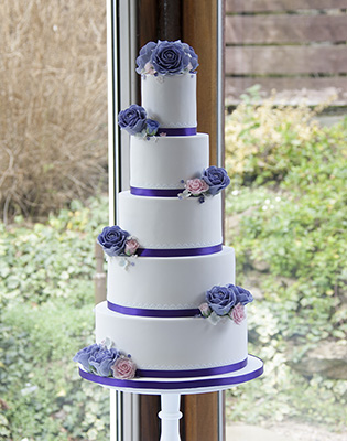 Purple Roses and Lace Wedding Cake (Price code C)