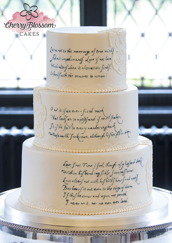 Shakespearean Sonnet 116 Wedding Cake (Price code B)