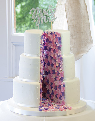 Split Floral Blossom Wedding Cake (Price code B)