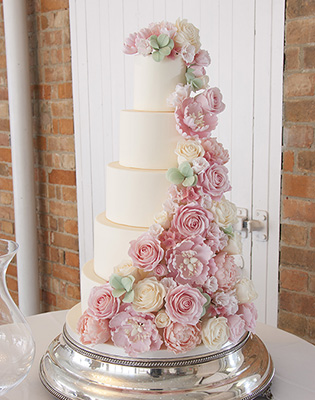 Summer Floral Cascade Wedding Cake (Price code C)