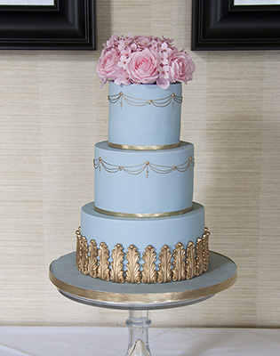 Vintage Blue Pink and Gold Wedding Cake (Price code B)