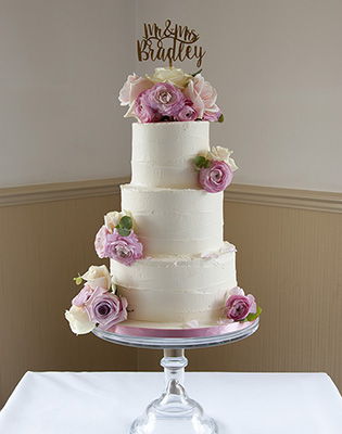 Vintage Flowers Rustic Buttercream Wedding Cake (Price code A)