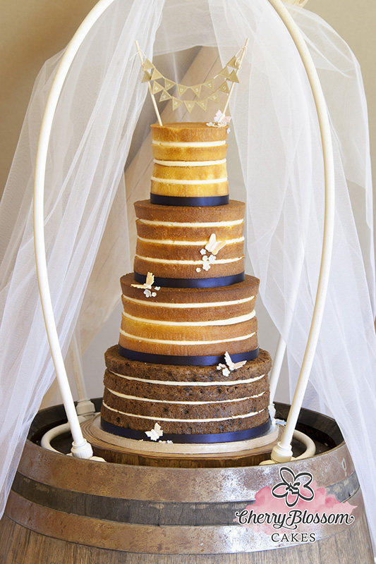 Butterflies Naked Wedding Cake (Price code A)