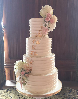 Fresh Flowers and Gold Leaf Buttercream Wedding Cake (Price code A)