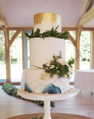 Geode and Gold Hand Painted Wedding Cake (Price code B)