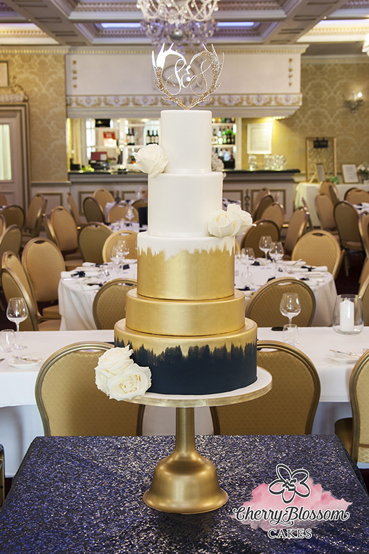 Navy and Gold Painted Wedding Cake (Price code C)