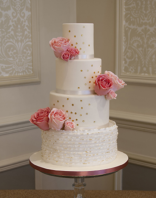 Pink Flowers Gold Sequins Wedding Cake (Price code B)