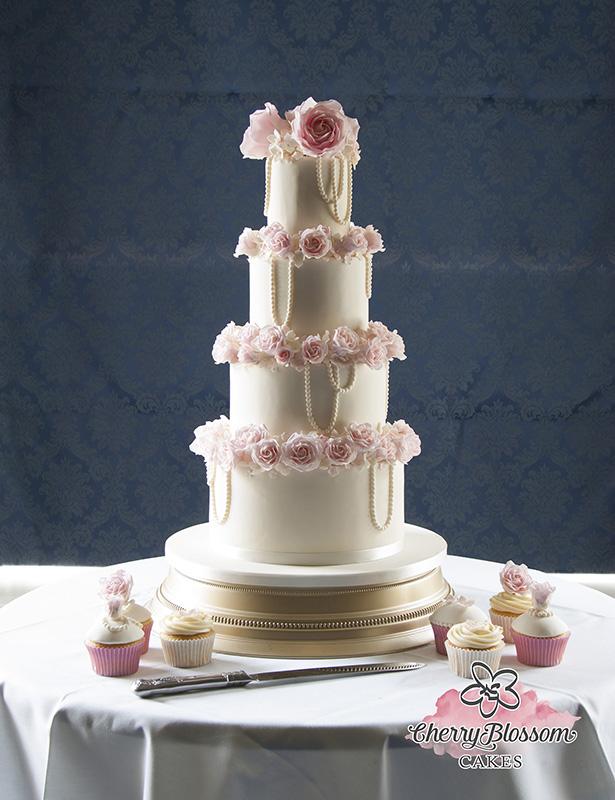 Pink Roses and Pearls Wedding Cake (Price code C)