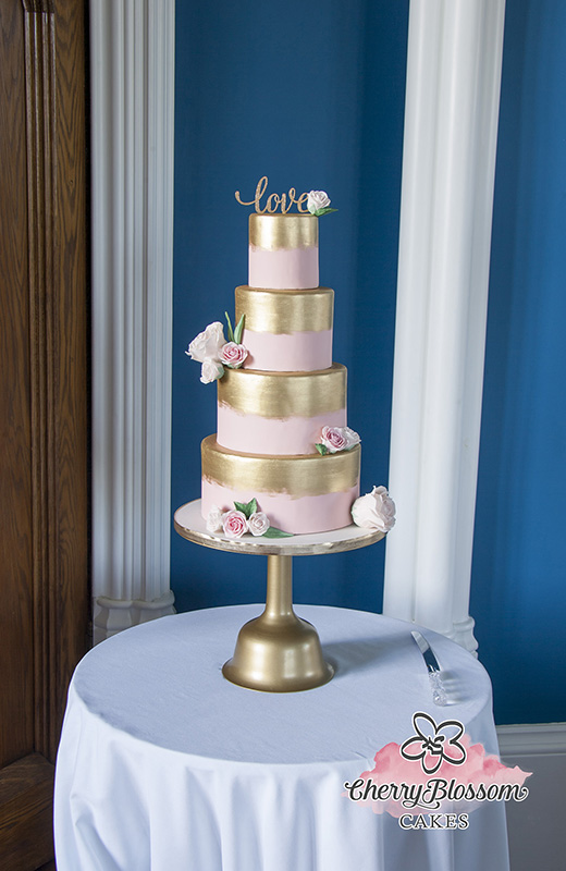 Pink and Gold Painted Floral Wedding Cake (Price code B)