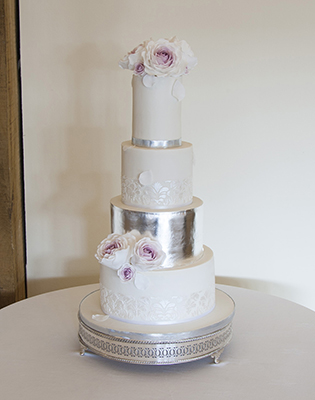 Silver Leaf and White Roses Wedding Cake (Price code C)