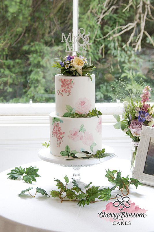 Watercolour Hand Painted Flowers Wedding Cake (Price code A)