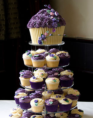Purple Flower Wedding Cupcake Tower (Individual cupcakes from £2.40)
