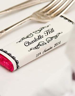 Wedding Favour Chocolate Bars Pink Foil